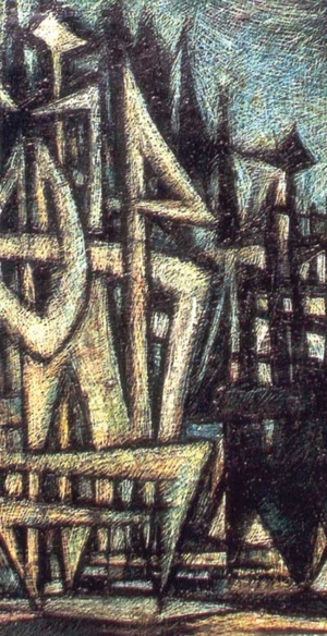 Sadequain, Judgment in Purity (detail), 1963, 30in x 48in, oil on canvas